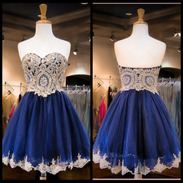 2016 New Arrival Sweetheart Neck Gold Lace Homecoming Dress Mini Short Navy Blue Prom Dress Short Sweet 16 Dresses