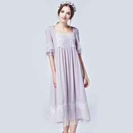 Wholesale-Summer Long Sleepwear Women Half Sleeve Square Collar Nightgowns 2016New Vintage Home Dress For Lady Plus Size Night Gown Female
