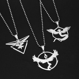 Wholesale Charm Poke Go Pendant Necklace Game Anime Stainless Steel Team Valor Mystic Instinct Bead Chain Of Women and Men Fans Toys Gifts HH N01