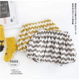 Wholesale new kids Girls stripe bread shorts wave yellow gray cotton shorts BH1947