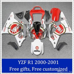 Wholesale Lucky Strike fairing kits for Yamaha YZF R1 ABS plastic Cowling Red white YZF R1 Aftermarket motorcycle body work with gifts