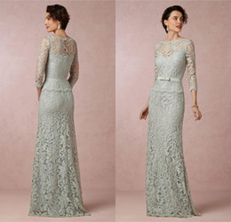 Elegant Lace Mother of the Bride Dresses 2016 Eiffelbride Sexy Illusion 3 4 Long Sleeve A Line Sage Evening Gowns Formal Mother Dresses