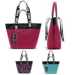 Wholesale Women VS Love Pink Shoulder Bags Handbags Large Capacity Travel Duffle Striped Waterproof Beach Bag Shoulder Bag