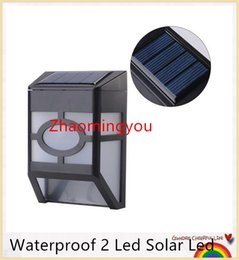 YON Free shipping Waterproof 2 Led Solar Led Wall Lam Solar Powered Panel Street Light Garden Pathway Wall Spotlight White Warm White