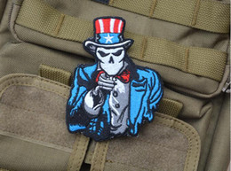 GPS-027 3*3.7 inch Wholesale 3D Patches Embroidered patch with magic tape American Flag USA US Uncle Sam armband badge garment accessories