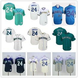 Wholesale Seattle Mariners Ken Griffey Jr Gray Blue Cream White Green Alternate Hall Of Fame Induction CoolBase MLB Jerseys with Sleeve Patch