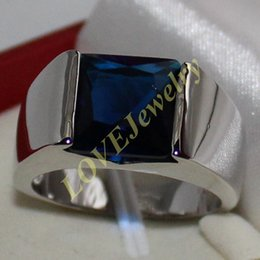 Men's Eternity 925 Silver Square Blue Sapphire CZ Gem Stone Solitaire Ring