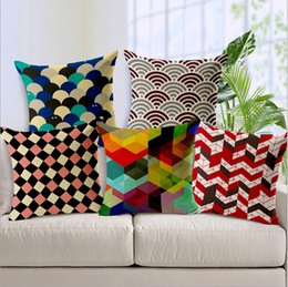 Wholesale Fashion Bed Cover European Modern Minimalist Color Geometric Linen Pillow Sofa Cover Windows Cushion Pad IKEA Cars Software Installed Pillow