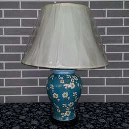 Wholesale Antique Chinese Hand painted ceramic Table Lamp Home decoration Flower and birds Pattern Porcelain Bedside Reading lamp