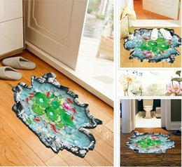 Wholesale 3D ground floor wall decoration wall waterproof bathroom bath pond D stickers PVC wall stickers removeable wall stickers