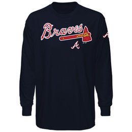 Wholesale 2016 New MLB Men Atlanta Braves Majestic Delight in The Game Long Sleeves T Shirt Navy Black MLB Baseball T Shirt