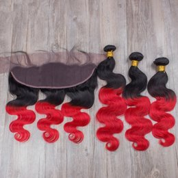 1B Red Ombre Brazilian Body Wave Virgin Hair With Frontals 4Pcs Lot Two Tone 3Bundles Brazilian Ombre Human Hair With 13x4 Lace Frontal