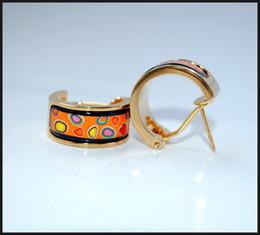 Colorful Stones Series Hoop earring 18K gold-plated enamel earrings for woman Top quality hoop earrings