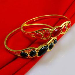 Gold plated bracelet bracelet female red black semi precious 18K retro bride wedding jewelry Korea