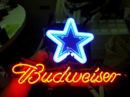 Promotion signes de cow-boy DALLAS COWBOYS FOOTBALL BUDWEISER Verre Réal Néon Light Sign Accueil Beer Bar Pub Salle de Jeux Salle de Jeux Windows Garage Mur Sign