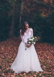 Lace sheer wedding dresses ridal wedding gown two piece see through top lace long sleeves wedding dresses tulle wedding gown