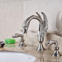 Wholesale Swan Faucet Crystal Handles - Nickel Brushed Bathroom Swan Faucet Crystal Handles Vanity Sink Mixer Tap