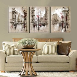 Wholesale Pieces unframed on Canvas Prints streets of London mountain waterfall Telephone booth Big Ben sea yacht flower Wine Glass