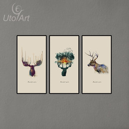 Wholesale 3 Panels Triptych Watercolor Animal Beautiful Deer Art Prints Elk Wall Picture Canvas Painting Kids Room Home Decor Unframed
