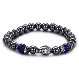 High Quality New Arrival Black Magnetite Stone Stainless Steel Cast Buddha Charms Friendship Bracelet Charming Jewelry