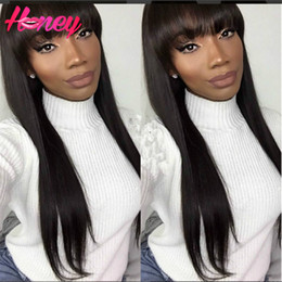 7A Brazilian Full Lace Human Hair Wigs With Blunt Bangs Silky Straight Wigs Lace Front Wigs With Bangs for Black Women Stock