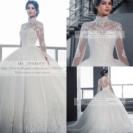 Victorian Arabic Long Sleeves Ball Gown Wedding Dresses Princess Style 2015 Plus Size Muslim Isalmic High Neck Empire Wedding Bridal Gowns