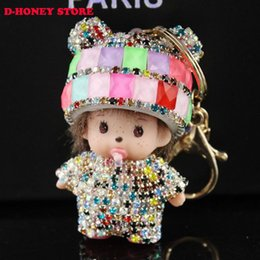 Wholesale Crystal Monchichi sleutelhanger monchhichi Dolls keychain car Leather key ring chain Women handbag charm bag pendant porte clef