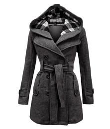 Wholesale New Fashion Women Hooded Coats Belt Double Breasted Long Sleeve Plaid Slim Women Wool Jacket S M L XL XXL