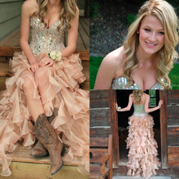 Special High Low Sweetheart Prom Dresses Sweetheart Organza With Crystals And Rhinestone Ruffles Abendkleider Party Gowns