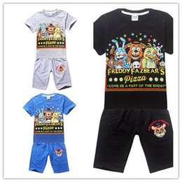 Wholesale 2016 Pizza Five nights at freddy short sleeve T shirt shorts Boys sets middle big kids clothing quality clothes years
