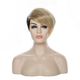Populay Capless Heat Resistant New Stylish Short Straight Blonde&Black Synthetic Hair Wig Wigs Party Wig Celebrity Wigs