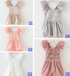 Wholesale 2016 New Summer Hug Me Baby Girls One Pieces Lace Romper Rose Floral Cotton Romper Sling Leggings color choose free fedex dhl ship