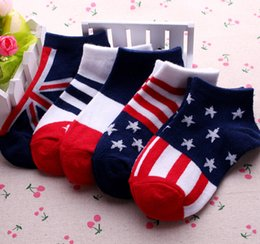 Wholesale Hot baby rice word flag socks new children cotton socks children s socks cheap pair B3