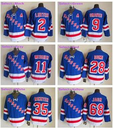 Wholesale Mens Brian Leetch Adam Graves Mark Messier Jaromir Jagr Blue Home Throwback Embroidery Hockey Jerseys