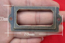 Wholesale Antique Brass Metal Label Pull Frame Cabinet Drawer Box Case File Name Card Holder Cabinet Drawer Box Case