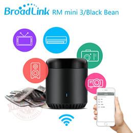Wholesale 2016 Broadlink RM Mini Black Bean maison intelligente universelle intelligente WiFi IR G télécommande sans fil par Smart Phone