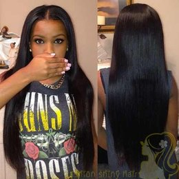 Human Hair Wigs Silk Straight Peruvian Hair Lace Front Wig Middle Parting Straight Glueless Full Lace Wig With Baby Hair