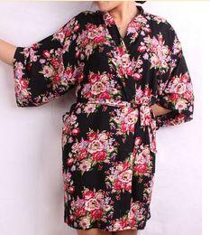 Wholesale-New Floral Women Wedding Bridal Kimono Robe Flower Satin Silk Lady Spa Night Dress Free Shipping