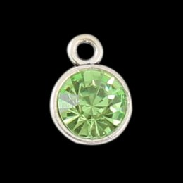 Wholesale Month Birthstone Charms August Light Green Pendant Charms Vintage Crystal Alloy Charms AAC733