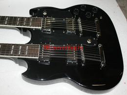 New Arrival Black 1275 Custom Shop Double Neck Electric Guiar 6 12 strings Wholesale Guitars