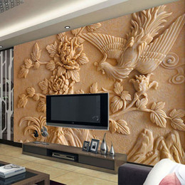 Wholesale Custom Large Mural D Stereo Relief Phoenix Peony Wallpaper Modern Chinese Style Hotel Living Room Sofa Backdrop Mural Wallpaper