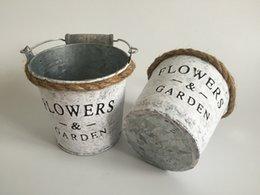 Wholesale D10 H10CM D4 H4inch Metal Buckets Garden Pail antique White color Metal Flower Pot antique white Flower Buckets