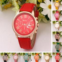 Wholesale SALE men women Wrist Watch Geneva Three Eyes Quartz Roman Numerals PU Leather Wrist Watches luxury leather watches christmas gifts