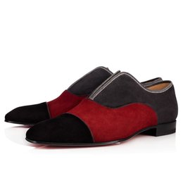 Wholesale Fashion Alpha Male Flat Walking Shoes Red Bottom Oxford Shoes Slip On Wedding Party Business Shoes Luxury Brand Loafers Shoes With Box