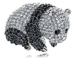 Wholesale Adorable Cute Clear Black Crystal Rhinestone Baby Panda Zoo Animal Pin Brooch