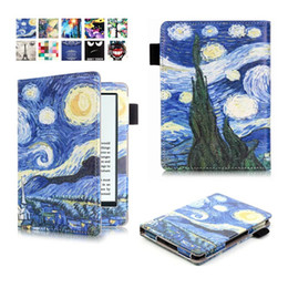 Wholesale Fashion Flower Print Leather Flip Case Pouch For Amazon New Kindle Oasis inch E Book E reader Painting Tree Tower Bag skin Cover