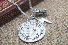 Wholesale 12pcs HP Hogwarts Express Charm Necklace Platform Necklace Fantasy Wizard Charm Necklace