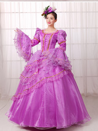 light purple ruffled lace luxury medieval dress ball gown siss princess Gown queen Cosplay Victorian Belle ball