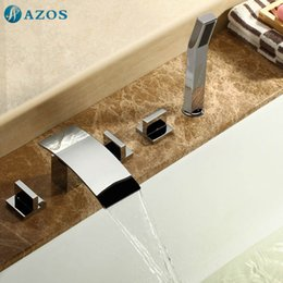 Wholesale AZOS Bathtub Faucets Chrome Polished Deck Mount Hot Cold Mixer Sprayer Showerheads Handles Diverter Valves YGWJ014