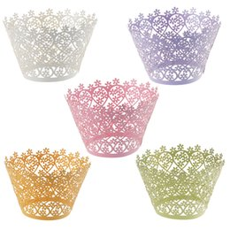 120pcs Laser Cut Flower Cupcake Wrappers Liners Bakeware Muffin Paper Cup Cake Wedding Gift Box Birthday Favor Baby Shower Kitchen Decor